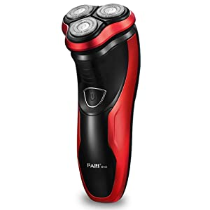 FARI Rotary Electric Razor Shaver with Pop-up Trimmer, Wet & Dry Rechargeable Electric Shaving Razor for Men, Black