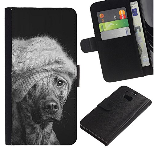 EuroCase - HTC One M8 - winter dog fashion Australian cattle mutt - Cuero PU Delgado caso cubierta Shell Armor Funda Case Cover