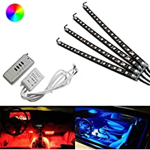 """iJDMTOY 4-Piece 12"""" 7-Color RGB LED Lighting Kit For Car Interior Decoration w/ Remote Control"""