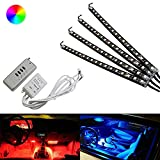 "iJDMTOY 4-Piece 12"" 7-Color RGB LED Lighting Kit For Car Interior Decoration w/ Remote Control"