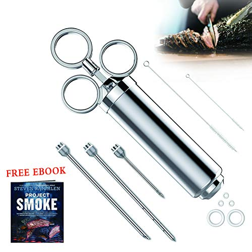 Injection Marinade Kit Meat Injection Syringe Food BBQ Flavor 2-oz For Turkey Seasoning Grill Cooking Stainless Steel With 3 Injection Needles 2 Cleaning Brushes 5 Silicone O-rings Recipe E-Book