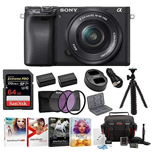 Sony a6400 Mirrorless Digital Camera Bundle with 16-50mm Lens, High Speed 64 GB SDXC Card, Filter Kit, Three Batteries, USB Charger, Corel Photo Suite, Messenger Bag, Flexible Tripod, SD Card Wallet