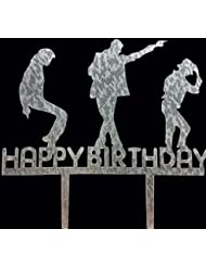 CaJaCa Happy Birthday Silver Cake Topper Michael Jackson Birthday Party (Silver)