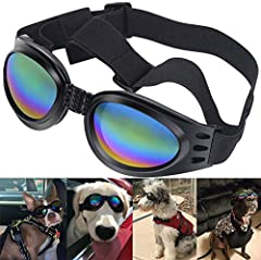 Adjustable head and chin straps. Foam cushion frame, foldable, easy to carry. Fun, yet functional design - total protection wind, water, and debris. Fashionable water-proof multi-color pet dog sunglasses eye wear. Wider nose bridge, deeper le...