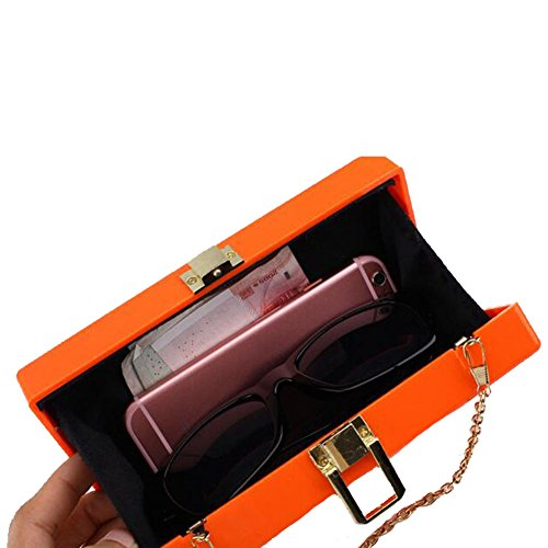 Party Angelliu Handbag Evening Rectangular LOVE Women's Bag Lucite Orange Acrylic Clutch FUZF6
