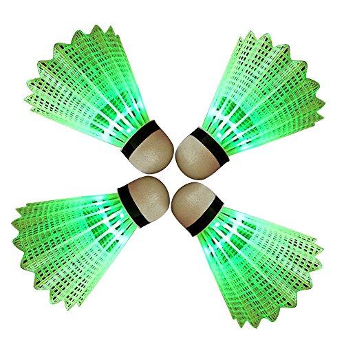 Eastlion 4 PCS LED Badminton Light UP Shuttlecock Plastic Glow Birdies for Night Sport Green