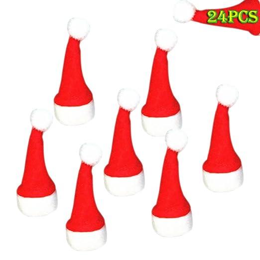 Espeedy 24pcs Sombreros Miniatura de Fieltro de Navidad Dulces ...
