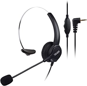 AGPtEK 2.5mm Monaural Headset for Desk Phones, 6FT Hands-Free Noise Cancelling Headphone with Mic, Microphone, Comfort Fit Headband for Office Phones