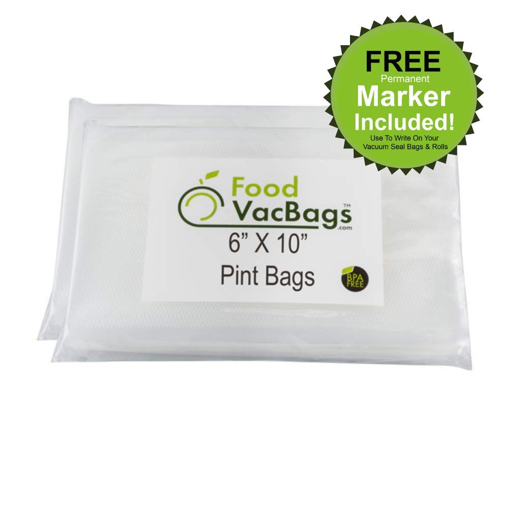 100 FoodVacBags 6X10-inch Pint Vacuum Sealer Storage Bags - Compatible with Foodsaver Machines - Commercial Grade, BPA Free, Heavy Duty, Sous Vide Cook