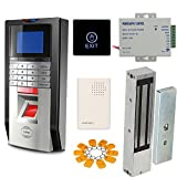 1200LBS Mag Lock Color Bio Fingerprint Time Attandance Security System Kit with Touch Exit Button Power Suppy Token Key Ring Wired Doorbell
