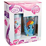 Vandor 42188 My Little Pony 16 oz Plastic Travel Mug and 18 oz Acrylic Travel Cup with Lid and Straw Set, Multicolor