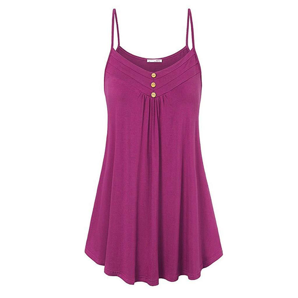 Kiyotoo Women Summer Tank Top Dress Casual Spaghetti Strap Button Down V Neck Sleeveless Beach Swing Dresses Sundress