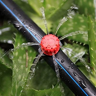 Axe Sickle 100pcs 360 Degree Adjustable Irrigation Drippers Sprinklers Emitters Drip Watering System for flower beds, vegetable gardens, Lawn, herbs gardens.
