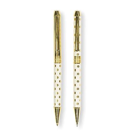4aea5453e6f Amazon.com   Kate Spade New York Women s Gold Dot Pen   Pencil Set ...