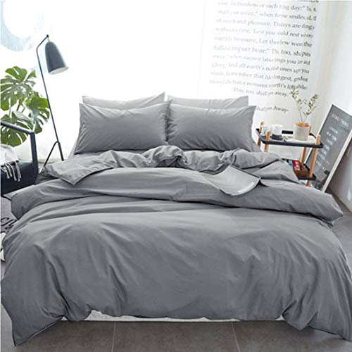 (INGALIK Bedding 3 Piece Duvet Cover Set King Size with Zipper Closure Ultra Soft Breathable 100% Washed Microfiber Hotel Luxury Solid Color Collection 3pc (1 Duvet Cover + 2 Pillow Shams) Light Grey)