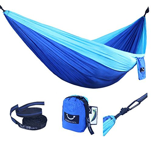 Hamacool Portable Hammock Garden Hammock Ripstop Nylon Parachute Lightweight 2 Person Hammock with Hanging Straps for Backpacking Travel Beach Yard-Blue (Hanging People)