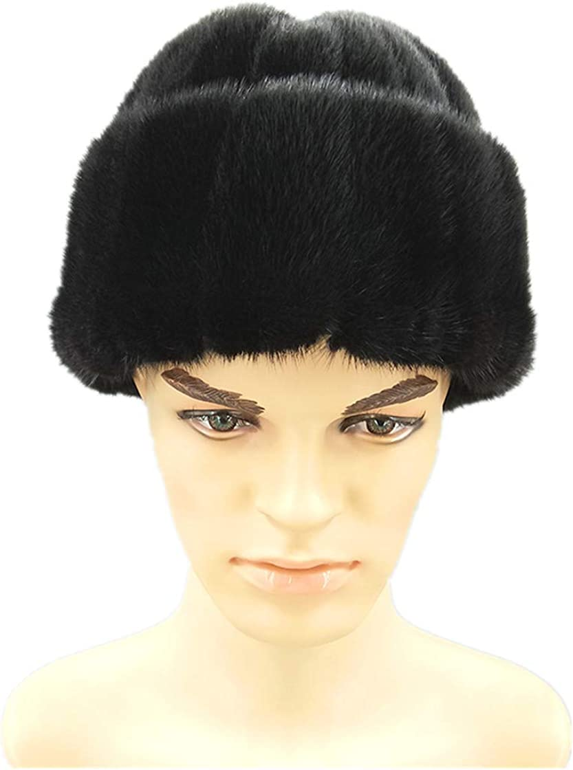 Men Bomber Hats Mink Fur Outdoors Warm Thicken Cap Retro Stylish Aviator Hat