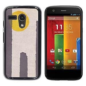 Shell-Star Arte & diseño plástico duro Fundas Cover Cubre Hard Case Cover para Motorola Moto G1 / X1032 ( Sun Yellow Grey Minimalist Desert )