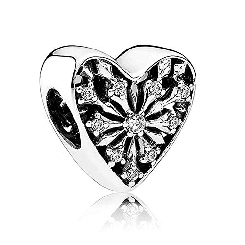 (Romántico Amor Frosted Heart of Winter Charm Snowflake opework Silver Bead fit Pandora Bracelets)