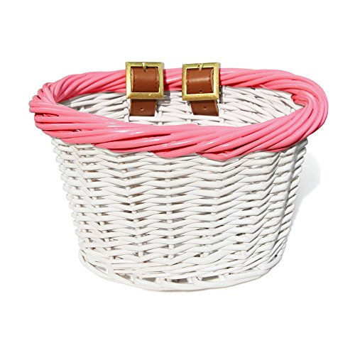 Colorbasket 01532 Kid's Front Handlebar Wicker Bike Basket, White with Pink Trim