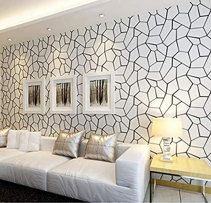 Noir Blanc Motif Géométrique Papier Peint Non Tissé Art