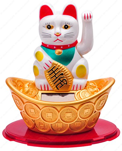 M.V. Trading Japanese Maneki Neko Fortune Cat Lucky Solar Powered Lucky Waving Arm Cat Sitting On Gold Bar, White, 5-Inches ()