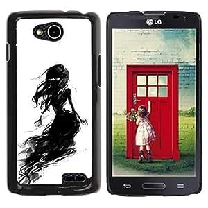 For LG OPTIMUS L90 / D415 Case , Black Chalk Charcoal Witch Woman - Diseño Patrón Teléfono Caso Cubierta Case Bumper Duro Protección Case Cover Funda