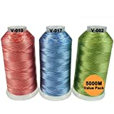 New brothreads -24 Options- Various Assorted Color Packs of Polyester Embroidery Machine Thread Huge Spool 5000M for All Embroidery Machines - Variegated Colors 2