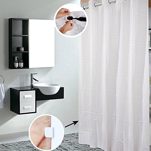 (Shower Curtain Hookless, 3D Ball Pattern Water Repellent White Shower Curtain Liner Washable Plastic PEVA Shower Stall Curtain with Shower Curtain Splash Clips for Bathroom Hotel Spa, 72x74 inch)