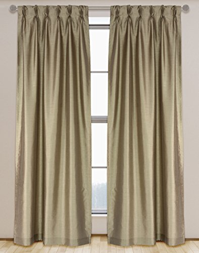 (LJ Home Fashions 571 ZOI Lined Faux Silk Pinch Pleat Tab Top Curtain Panel Pair, 30
