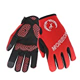 MOREOK Sensitive Touch Screen Gloves Mountain Bike Road Bike Cycling Full Finger Biking Gloves Anti-Slip Shock-Absorbing Hand Warmers Gel Pad Breathable Cycle Gloves (Red, M)