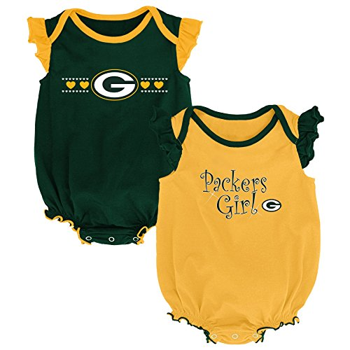 (Outerstuff NFL NFL Green Bay Packers Newborn & Infant Homecoming Bodysuit Combo Pack Hunter Green, 3-6 Months)