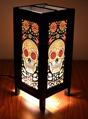 Decorative Lamp Thai Vintage Handmade Asian Oriental Fantasy Skull Bedside Table Light Floor Wood Paper Lamp Shades Home Bedroom Garden Decoration Mod…
