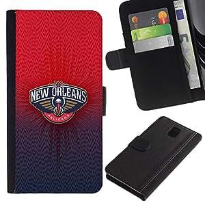 Samsung Galaxy Note 3 III N9000 N9002 N9005 , la tarjeta de Crédito Slots PU Funda de cuero Monedero caso cubierta de piel (New Orlean Pelican)