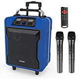 EARISE M60 Portable PA System Work with Bluetooth, DJ Karaoke Amplified Loudspeaker with 2 Wireless Microphone, 10'' Subwoofer, Remote Control, Aux Input, Telescoping Handle, USB Charging & Wheels,Blue