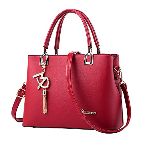 Trekking Hand Art - New Ladies Bag Simple Handbag Shoulder Bag,Outsta Women Large Bag Messenger Bag Purse Cosmetic Bag Classic Casual (Wind red)