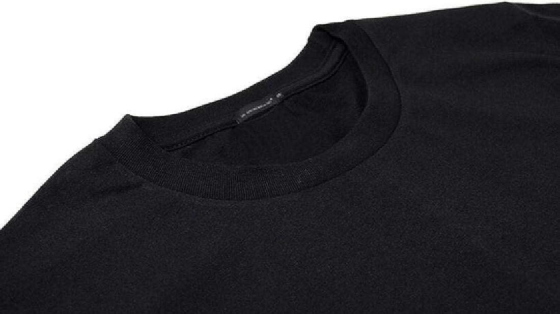 Domple Men Summer Plus Size Short Sleeve Cotton Wolf Floral Printed Top T-Shirt Blouse