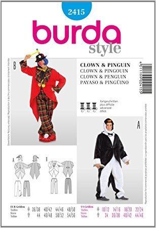 Burda 2415 Schnittmuster Kostüm Fasching Karneval Clown & Pinguin ...