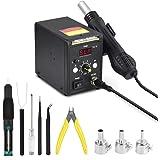 858D Rework Station, Hot Air Desoldering-gun (212-932°F) Kit with °F /°C Display Digital SMD Anti-static Station for BGA IC,