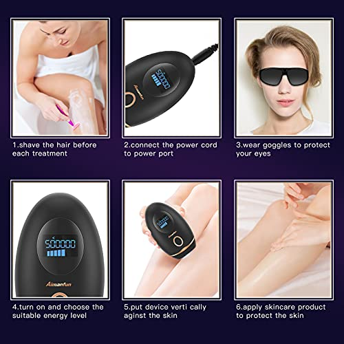 Hair Removal for Women,Permanent Hair Removal Painless Automatic Hair Remover Device for Body Face Legs Bikini Arm Armpits - Upgrade to 500,000 Flashes (Black)