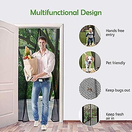 Protector de puerta de pantalla magn/ética anti mosquito magia acoplamiento completo marco Cortina de malla resistente Prueba de gato claro dos perro de pared de garaje coche-negro 170x220cm 67x87inch