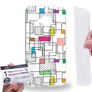 Case88 [HTC ONE M9+ (PLUS)] Gel TPU Carcasa/Funda & Tarjeta de garantía - Art CMYK Geometric Print Square Art2140