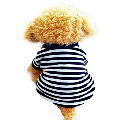 Image of HP95 Dog Shirt, (TM) 2015 Fashion Summer Pet Dog Classic Wide Stripes T-Shirt, Doggy Clothes Cotton Shirts (White, L)