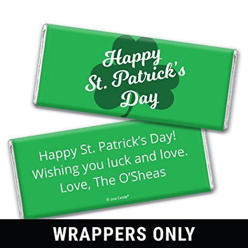 Personalized St. Patrick's Day Clover Hershey Bar Wrappers (Wrappers Only) 25 Count