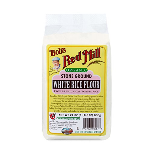 Bob's Red Mill White Rice Flour, Organic, 24-Ounce Packages (Pack of 4) (Free Fat Flour)