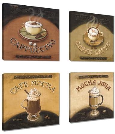 Visario quadri moderni Set su tela motivo Caffè 6903: Amazon.it ...