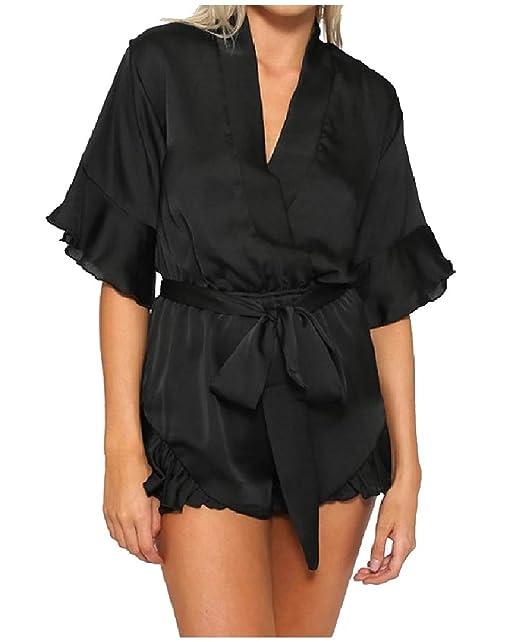 7c3968405e9e70 Highisa Women s V Neck Tunic Satin Bodysuit Bow Romper Jumpsuit Playsuit  Black XS