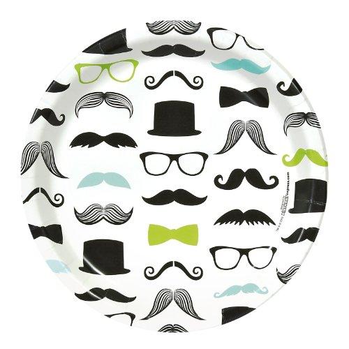 Mustache Man Party Supplies - Dinner Plates (8) (Men Moustache)
