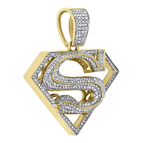 14k Yellow Gold Finish 1.50 Ct Round Cut Simulated Diamond Men's Superman Shield Logo Pendant With 18