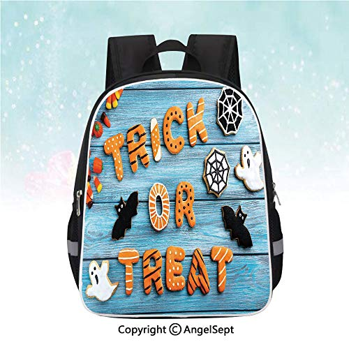 Nylon Fabric Backpack,Trick or Treat Cookie Wooden Table Ghost Bat Web Halloween,13
